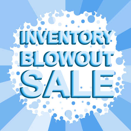 blowout: Big winter sale poster with INVENTORY BLOWOUT SALE text. Advertising blue banner template Illustration