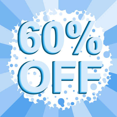 Big winter sale poster with 60 PERCENT OFF text. Advertising blue banner template