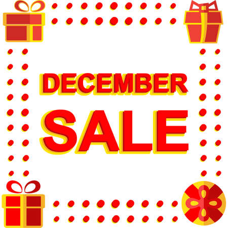 decembe: Big winter sale poster with DECEMBE SALE text. Advertising banner template Illustration