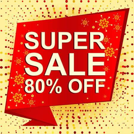 Big winter sale poster with SUPER SALE 80 PERCENT OFF text. Advertising  banner template Illustration