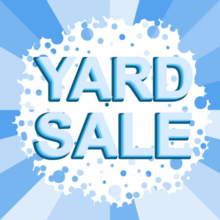yard sale: Big winter sale poster with YARD SALE text. Advertising blue banner template