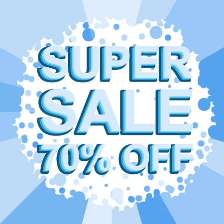 Big winter sale poster with SUPER SALE 70 PERCENT OFF text. Advertising blue banner template Illustration