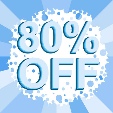 Big winter sale poster with 80 PERCENT OFF text. Advertising blue banner template Illustration