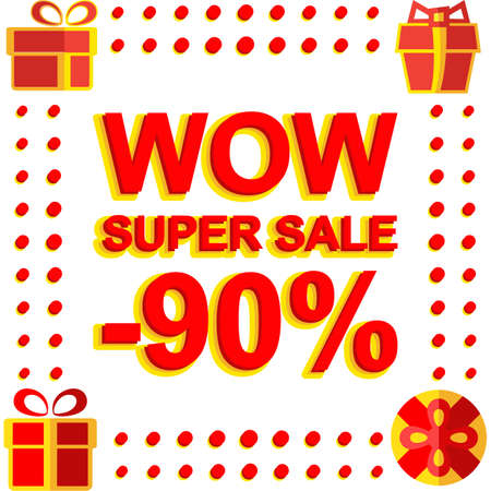 Big winter sale poster with WOW SUPER SALE MINUS 90 PERCENT text. Advertising banner template Illustration
