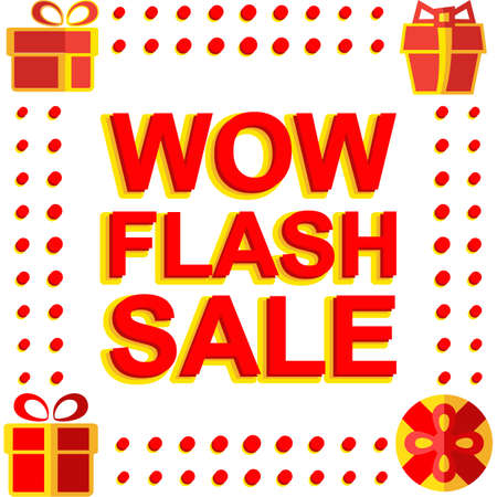 Big winter sale poster with WOW FLASH SALE text. Advertising banner template