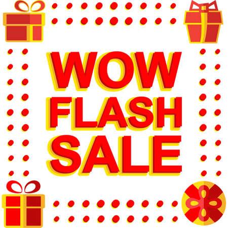 Grote winter verkoop poster met WOW FLASH SALE tekst. Reclamemodulen template