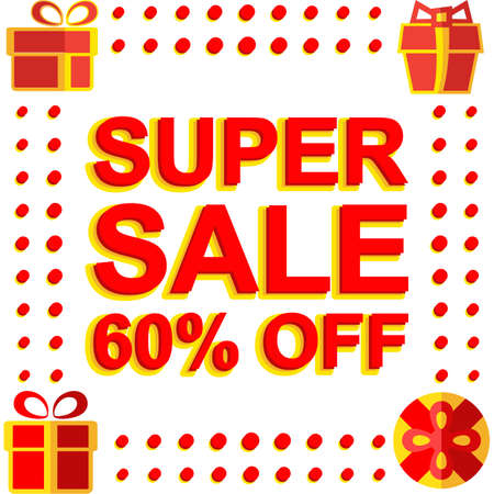 Big winter sale poster with SUPER SALE 60 PERCENT OFF text. Advertising banner template