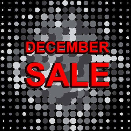 decembe: Big sale poster with DECEMBE SALE text. Advertising monochrome and red banner template