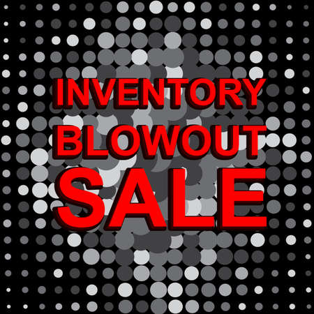 blowout: Big sale poster with INVENTORY BLOWOUT SALE text. Advertising monochrome and red banner template