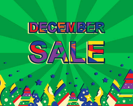 decembe: Big winter sale poster with DECEMBE SALE text. Advertising banner template with christmas trees. Green background Illustration