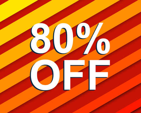 pricing: Red striped sale poster with 80 PERCENT OFF text. Bright advertising  banner template