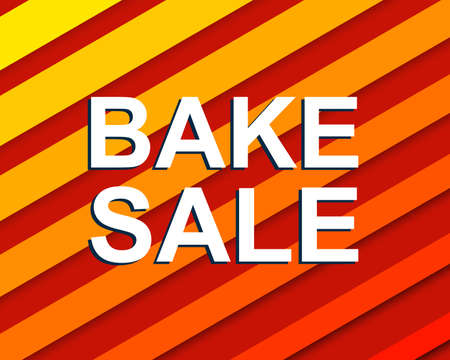 bake sale sign: Sale poster with BAKE SALE text. Advertising red banner template