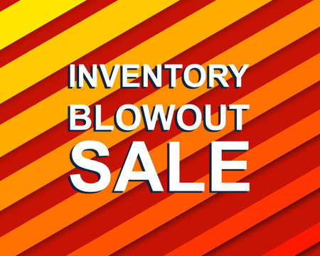 Red striped sale poster with INVENTORY BLOWOUT SALE text. Bright advertising  banner template