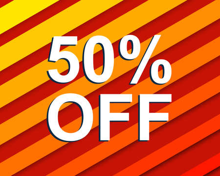 Red striped sale poster with 50 PERCENT OFF text. Bright advertising  banner template