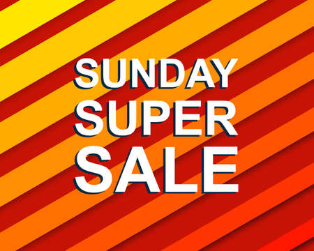 sunday market: Red striped sale poster with SUNDAY SUPER SALE text. Bright advertising  banner template