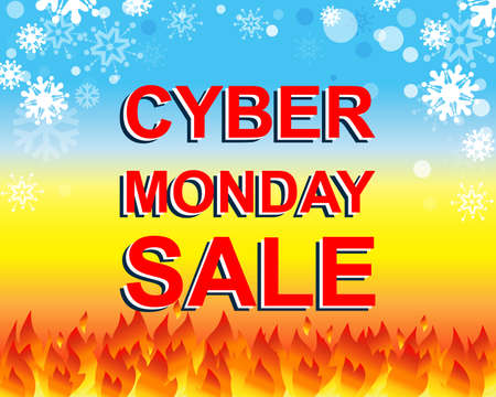 Big winter sale poster with CYBER MONDAY SALE text. Advertising blue and red banner template Illustration