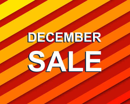 decembe: Red striped sale poster with DECEMBE SALE text. Bright advertising  banner template