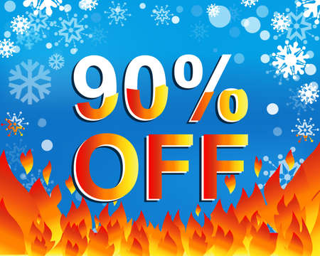 limited: Big winter sale poster with 90 PERCENT OFF text. Advertising blue and red banner template