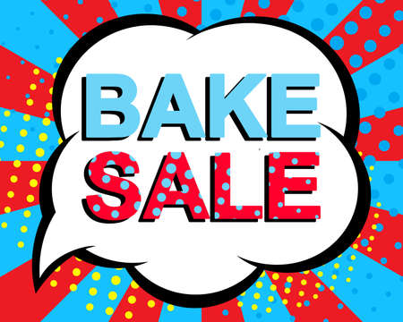 bake sale sign: Big sale poster with BAKE SALE text. Advertising blue and red banner template. Pop art style Illustration