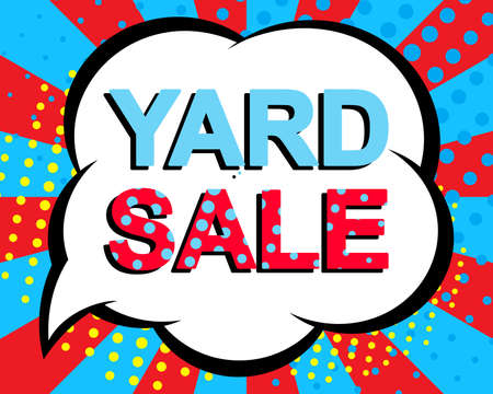 yard sale: Sale poster with YARD SALE text. Advertising blue and red banner template. Pop art style