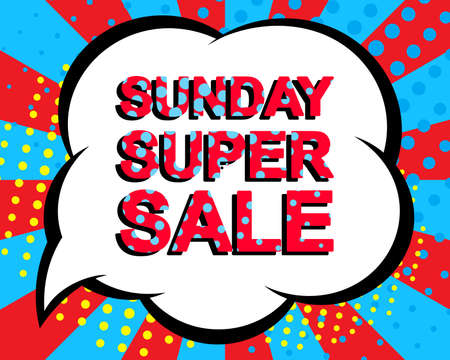 sunday market: Sale poster with SUNDAY SUPER SALE text. Advertising blue and red banner template. Pop art style
