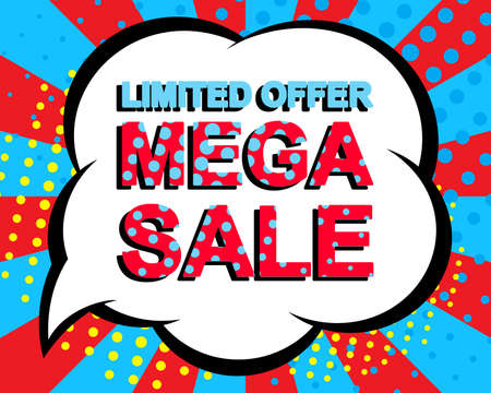 Sale poster with LIMITED OFFER MEGA SALE text. Advertising blue and red banner template. Pop art style