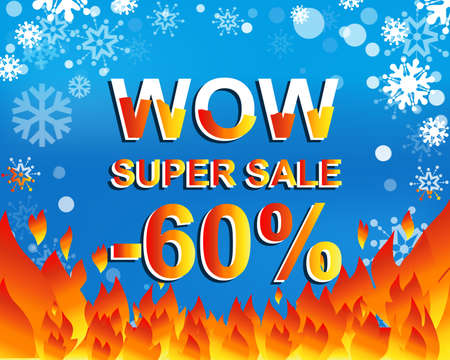 Big winter sale poster with WOW SUPER SALE MINUS 60 PERCENT text. Advertising blue and red banner template Illustration