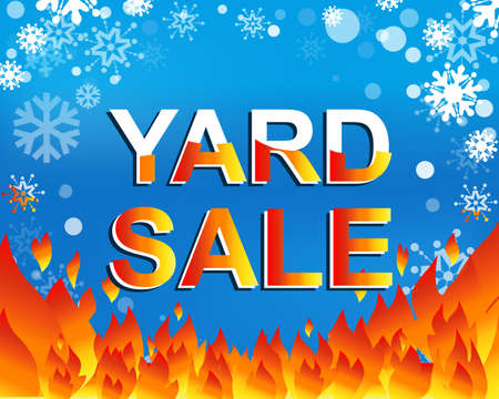 yard sale: Big winter sale poster with YARD SALE text. Advertising blue and red banner template