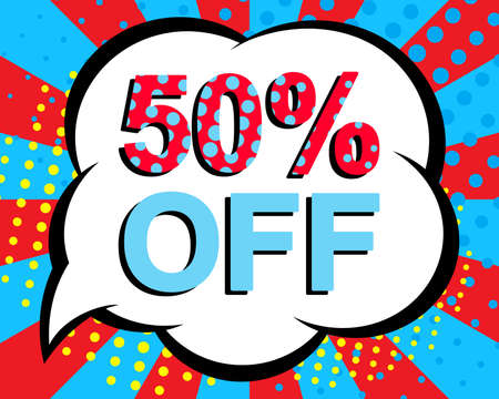 Sale poster with 50 PERCENT OFF text. Advertising blue and red banner template. Pop art style
