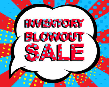 blowout: Sale poster with INVENTORY BLOWOUT SALE text. Advertising blue and red banner template. Pop art style