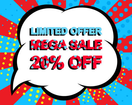 limited: Sale poster with LIMITED OFFER MEGA SALE 20 PERCENT OFF text. Advertising blue and red banner template. Pop art style