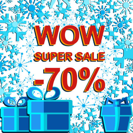 Big winter sale poster with WOW SUPER SALE MINUS 70 PERCENT text. Advertising blue and red banner template Illustration