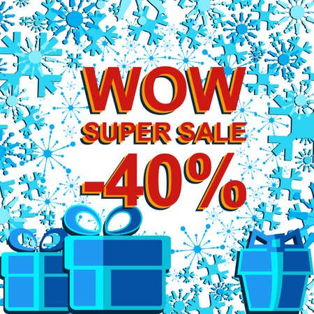 Big winter sale poster with WOW SUPER SALE MINUS 40 PERCENT text. Advertising blue and red banner template