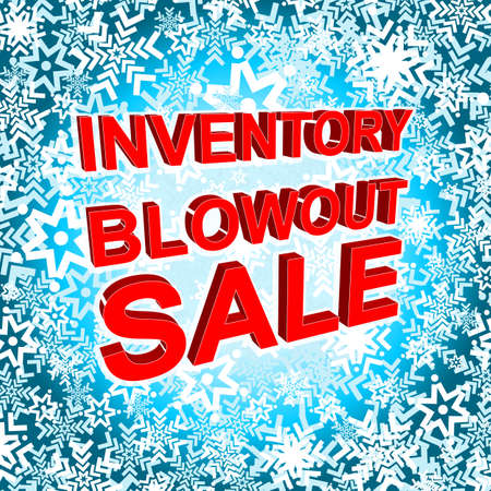 blowout: Big winter sale poster with INVENTORY BLOWOUT SALE text. Advertising blue and red banner template Illustration