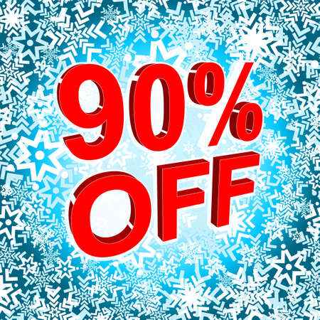 Big winter sale poster with 90 PERCENT OFF text. Advertising blue and red banner template