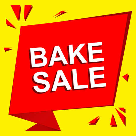 bake sale sign: Sale poster with BAKE SALE text. Advertising  and red banner template Illustration
