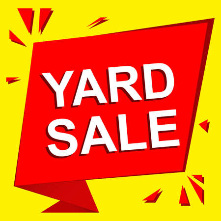 yard sale: Sale poster with YARD SALE text. Advertising  and red banner template