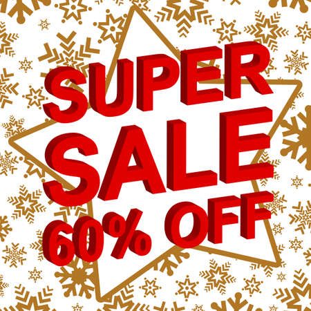 Winter sale poster with SUPER SALE 60 PERCENT OFF text. Advertising banner template