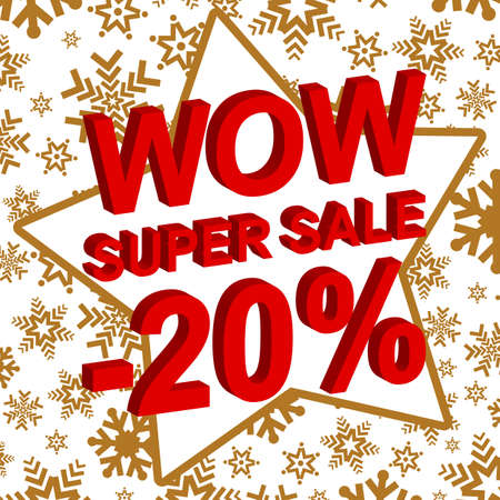 Winter sale poster with WOW SUPER SALE MINUS 20 PERCENT text. Advertising banner template
