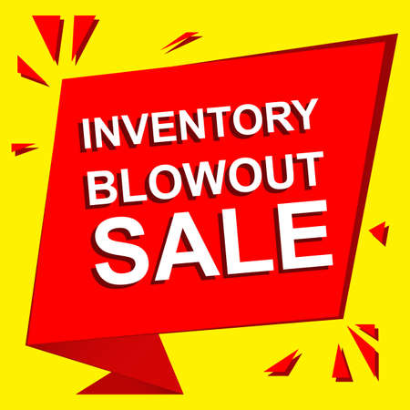 blowout: Sale poster with INVENTORY BLOWOUT SALE text. Advertising  and red banner template