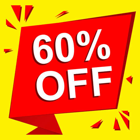 limited: Sale poster with 60 PERCENT OFF text. Advertising  and red banner template