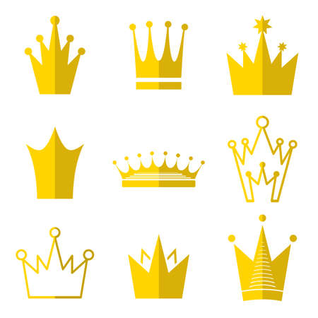 the aristocracy: Gold Crown Icon In Flat Style Isolated On Black Background