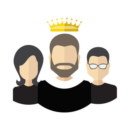 Person with the crown and team flat icon. Teamwork with leader concept.