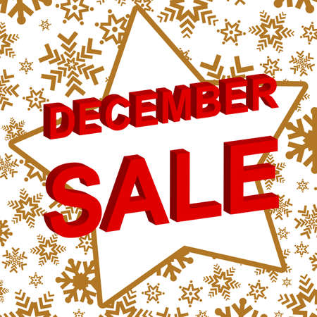 decembe: Winter sale poster with DECEMBE SALE text. Advertising banner template