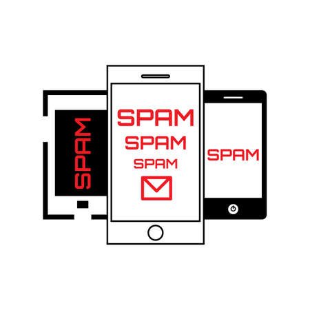 spamming: Spam Concept with Mail and Smartphone Icon Isolated on White. Telephone Spamming Symbol