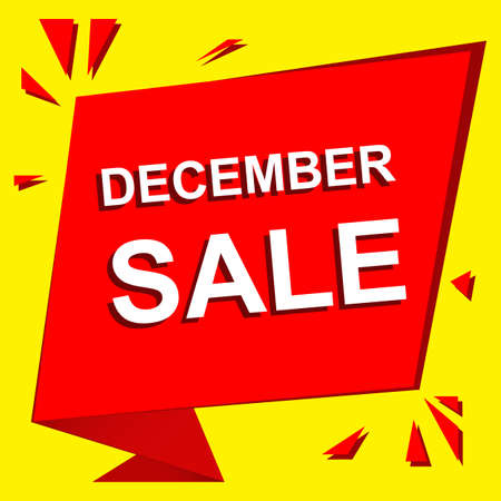 decembe: Sale poster with DECEMBE SALE text. Advertising  and red banner template