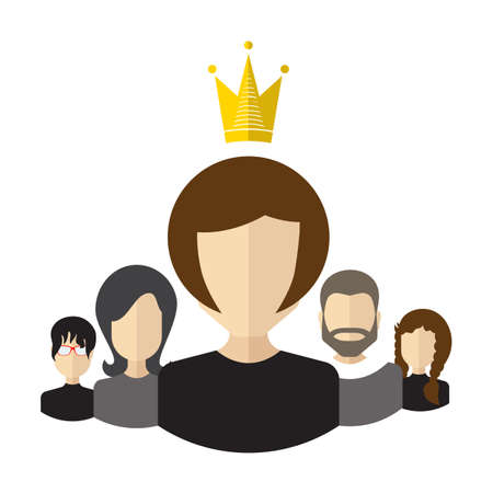 Person with the crown and team flat icon. Teamwork with leader concept. Women leadership.