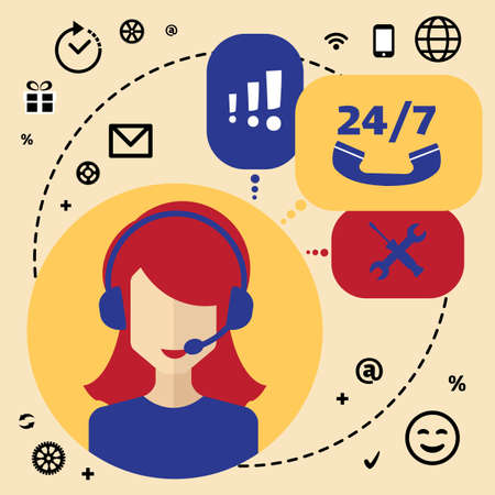 telephone icons: Call center telemarketing woman operator. Customer support and telephone sales concept. Flat avatar and icons.