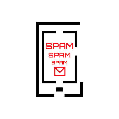 spam: Spam Concept with Mail and Smartphone Icon Isolated on White. Telephone Spamming Symbol