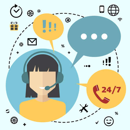 telemarketing: Call center telemarketing woman operator. Customer support and telephone sales concept. Flat avatar and icons.